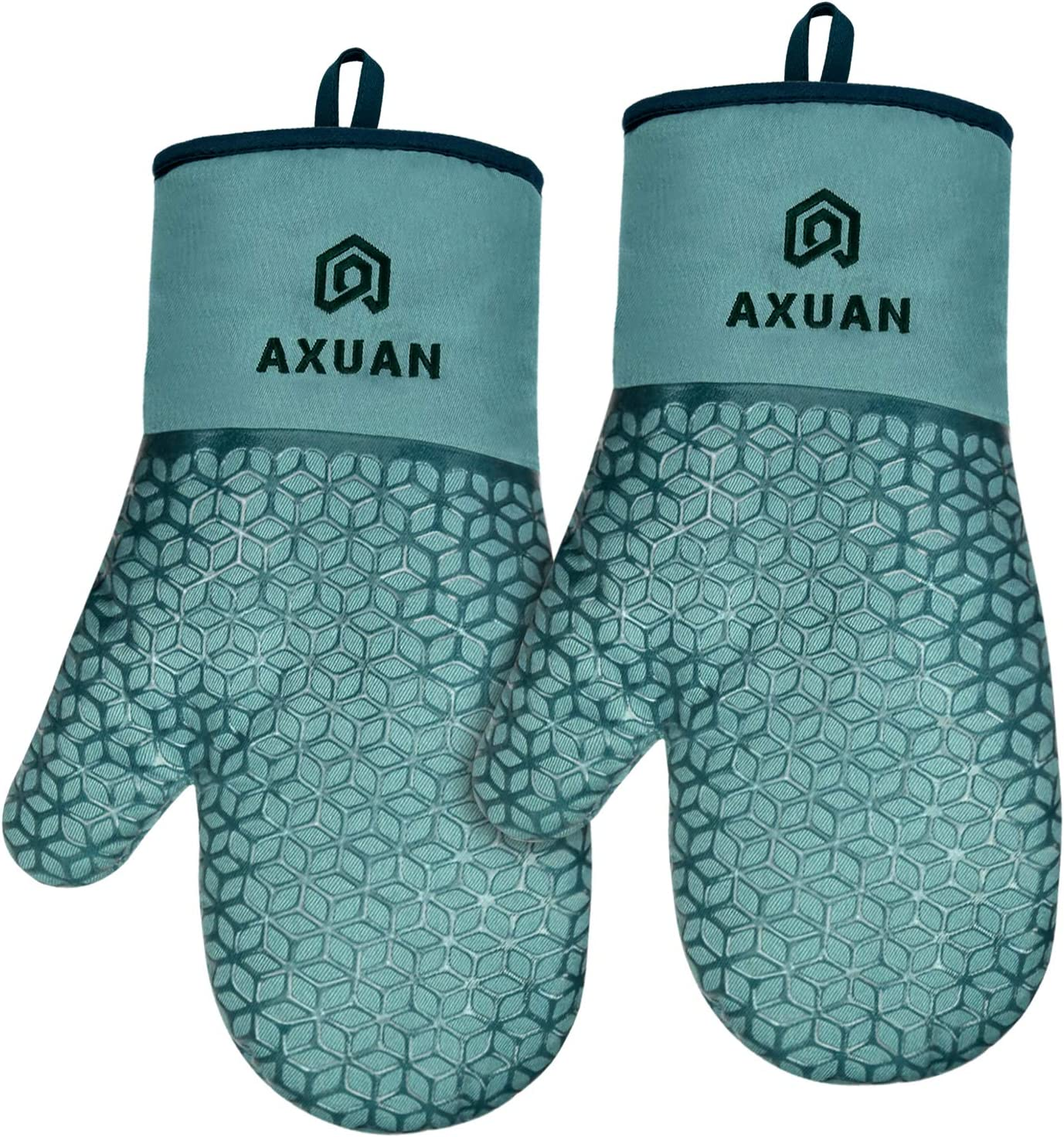 AXUAN Oven Mitts, Kitchen Oven Glove High Heat Resistant 500 Degree with Food Grade Non-Slip Silicone Surface for Cooking Baking BBQ (Blue)