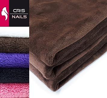 Crisnails® Toallas de Microfibra Secado Rápido para Peluquería Paquete de 3, 35cm x 75cm, Varias Colores (Pack-3, Marrón): Amazon.es: Hogar