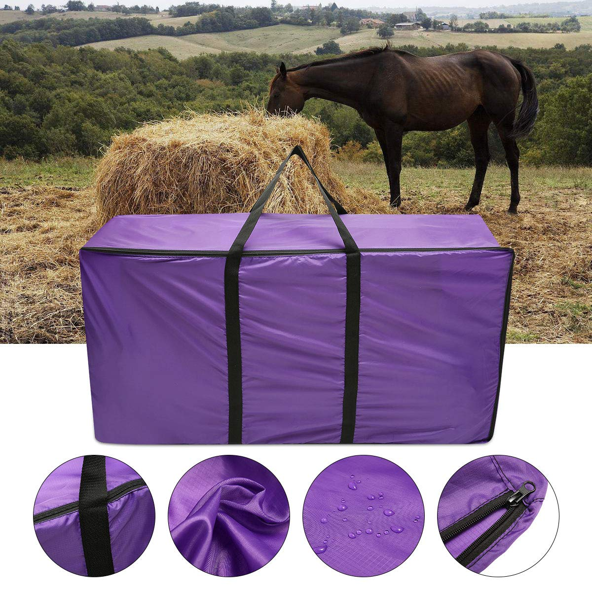 ESSORT Hay Bale Storage Bag, Extra Large Tote Hay Bale Carry Bag, Foldable Portable Horse and Livestock Hay Bale Bags with Zipper Waterproof, Purple 45'' x 14'' x 23'' by ESSORT