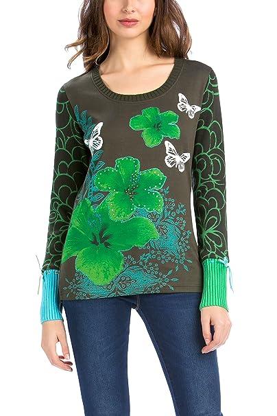Desigual 57T24M7 - Camiseta para Mujer, Color Verde 4009, Talla M