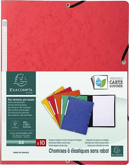 Exacompta 55415E - Pack de 10 carpetas con goma, color rojo ...