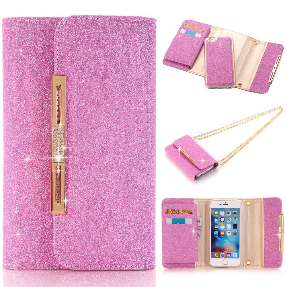 Sammid Women Shinning Galaxy S8 Case,5.8 inch S8 Cover, Magnetic Detachable Wallet Cover for Samsung Galaxy S8 - Hot Pink
