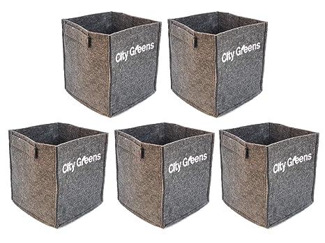 CityGreens® Fabric Grow Bags for Plants | 500 GSM | Black, Square