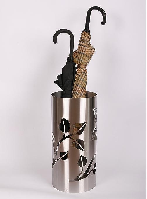 Regenschirmständer Design Leaves, 49 x Ø 22,5 cm, Edelstahl mattiert,  Marke: Szagato, Made in Germany (Schirmständer, Schirmhalter,  Regenschirmhalter ...