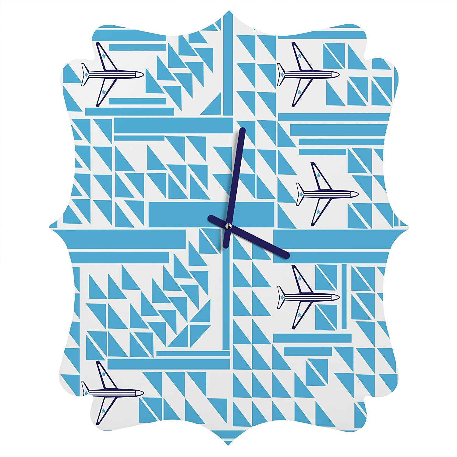 Deny Designs Vy La, Airplanes and Triangles, Round Clock, Round, 12 12 50403-roucls