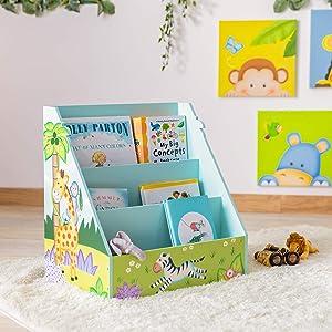 Fantasy Fields - Sunny Safari Toddler Bookshelf, Kid Bookshelf Wood, Storage, 3-Shelf Bookcase for Bedroom, Book Display Case for Girl/Boy, 3 Tier Mobile Bookrack, Low Square Book Cabinet - Blue
