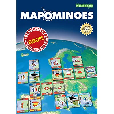 MAPOMINOES EUROPE – The Ultimate Geography Game – Fun and educational travel card game about connecting European countries for kids teens and adults. Like dominoes with maps.: Toys & Games
