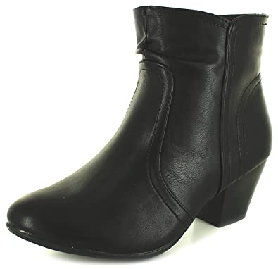 31e6437ad4a Comfort Plus Womens Ladys Black Ankle Boots with Mid Heelmemory Foam Insole  - Black -