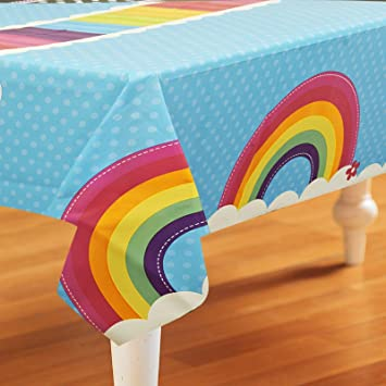 Lovely Rainbow Wishes Party Supplies   Plastic Table Cover