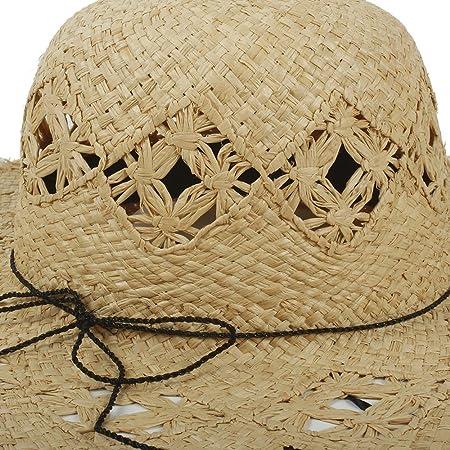 YINUO Gorras Sombreros Hechos a Mano de la Paja de la Rafia para Las  Mujeres Sombrero de Panamá Sombreros de Playa de ala Ancha (Color    Natural 498e0c820e0