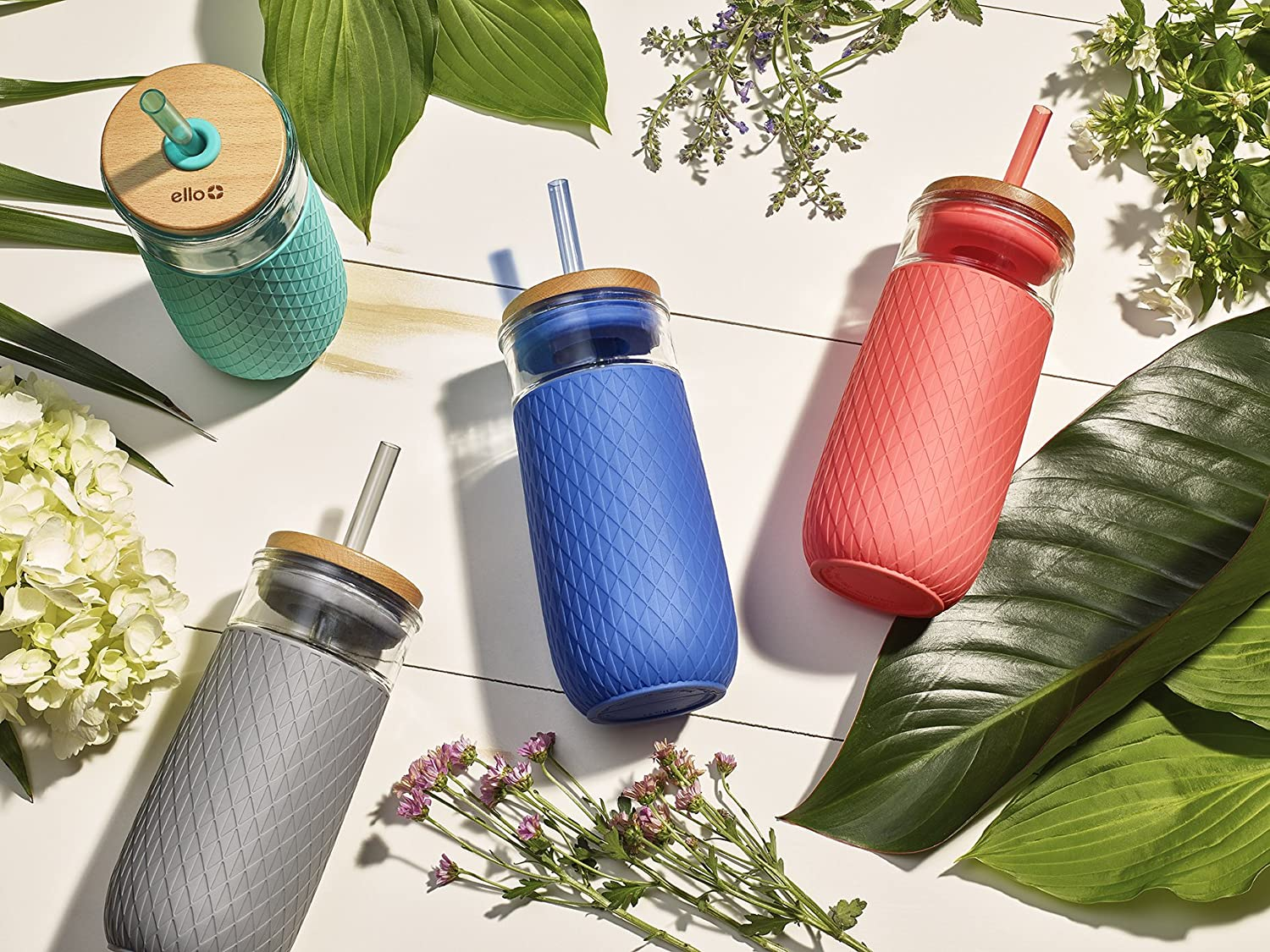 colorful glass tumblers with straws