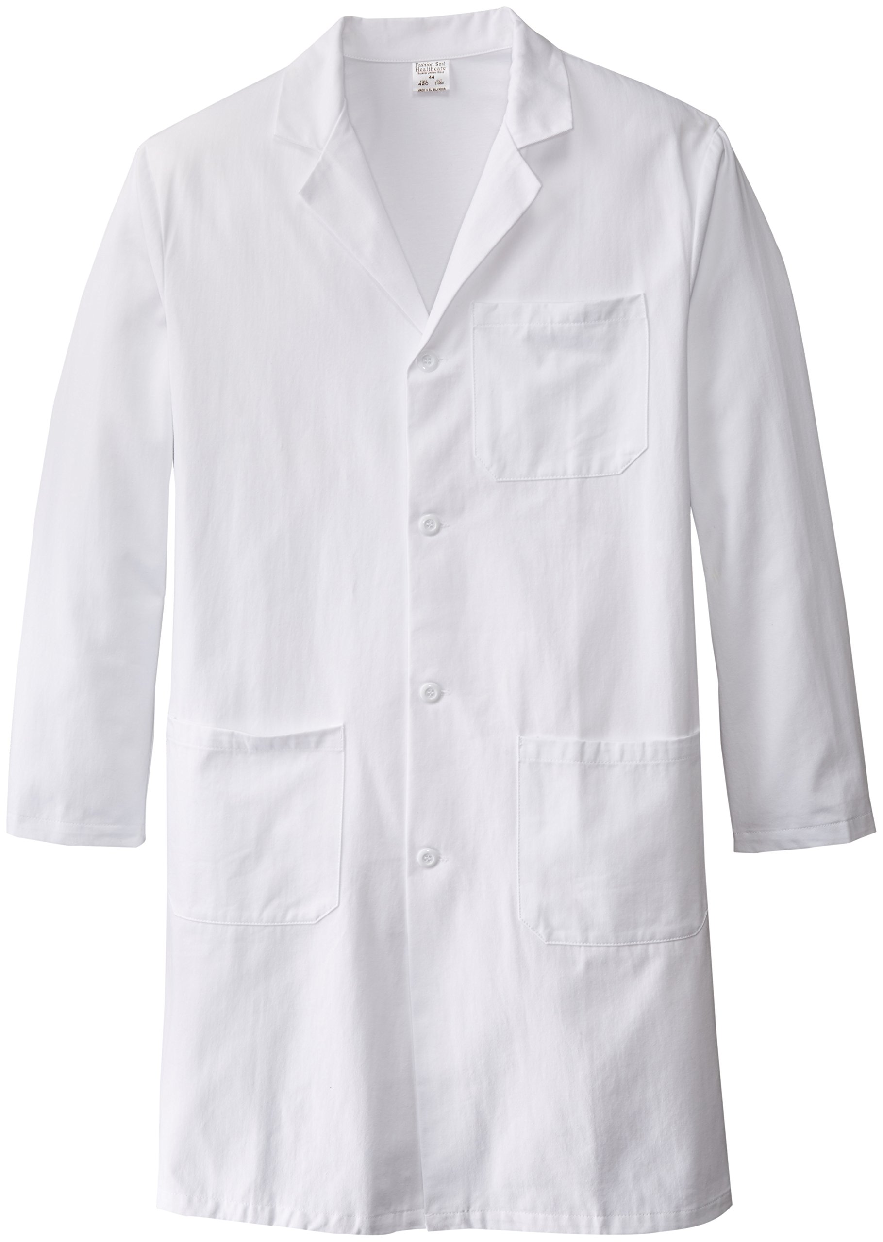 Worklon 420-44 100% Sanforized Cotton Heavyweight Twill Men's Knee Length Lab Coat, Button Front, White, 41'' Length, Size 44