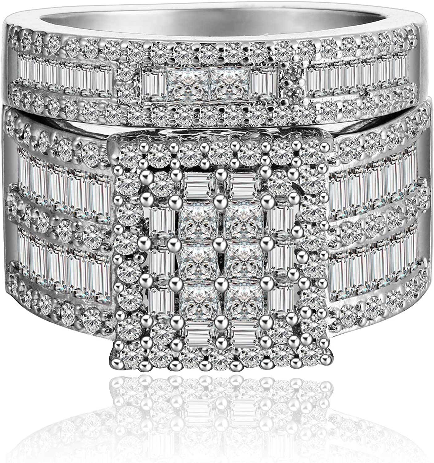 It is a picture of Camilla Square Cubic Zirconia Engagement Ring Wedding Band Bridal Set for Women by Ginger Lyne Ultra Wide Width Baguette and Round Multi Cut Stones