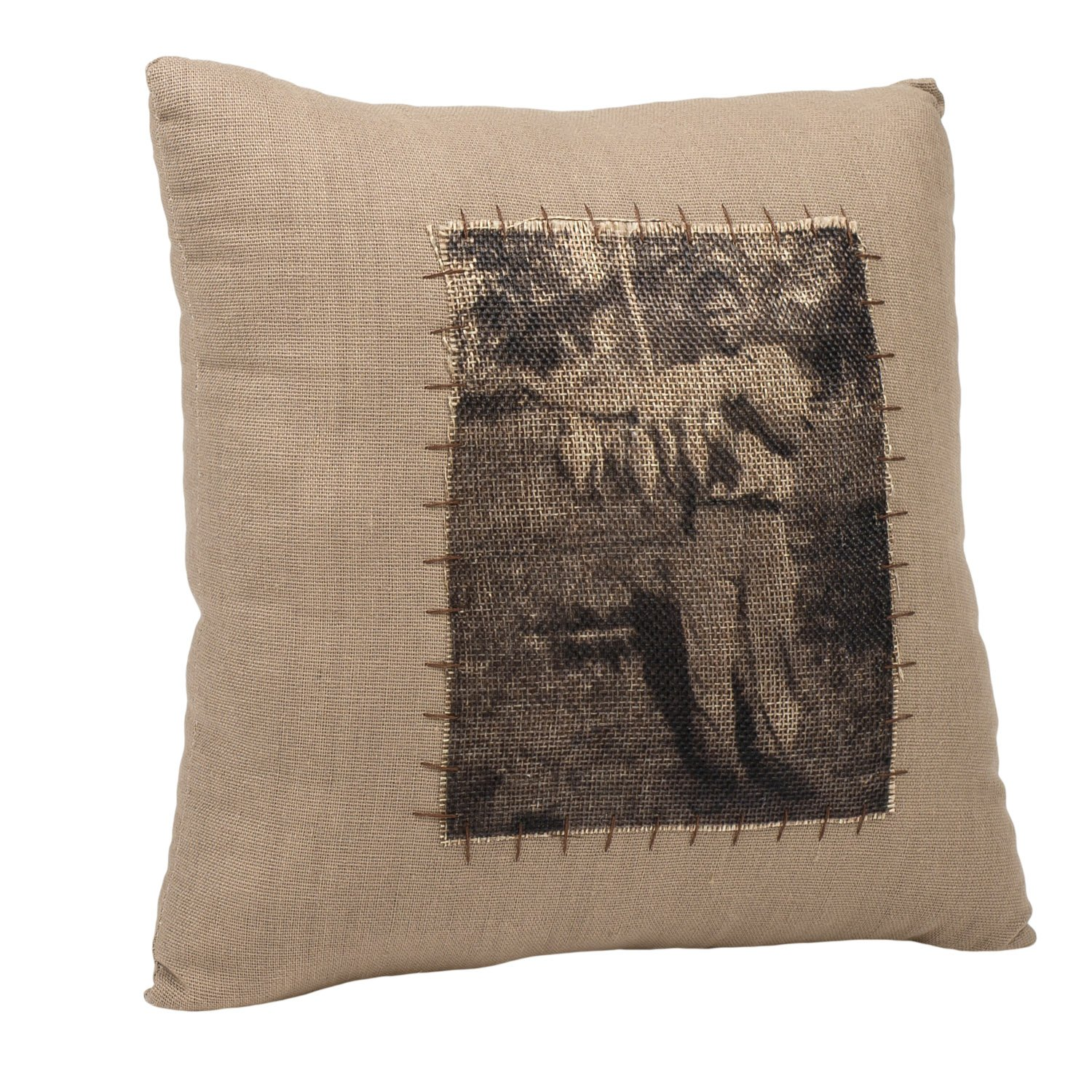 Grandpa Fishing Vintage Print 10 x 10 Canvas and Burlap Decorative Throw Pillow
