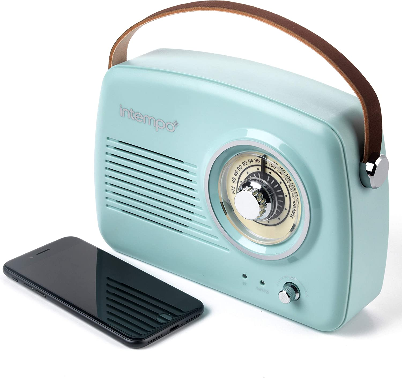INTEMPO EE3332BLUSTKEU - Altavoz Bluetooth con Radio FM y Correa de Piel, Azul, 21 cm