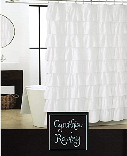 Cynthia Rowley White Shabby Chic Ruffled Tiers Fabric Shower Curtain Gypsy  Carmen Ruffle Flamenco