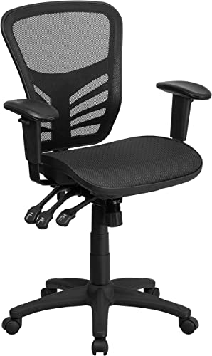 Flash Furniture Mid-Back Transparent Black Mesh Multifunction Executive Swivel Ergonomic Office Chair