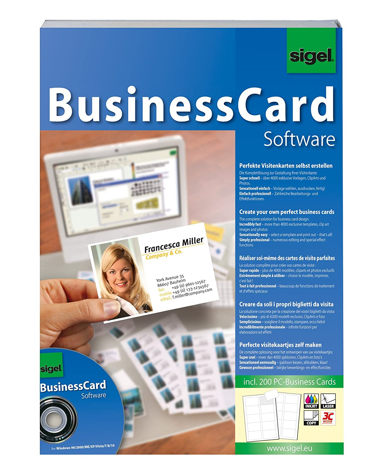Sigel sw670 business card software incl 200 business cards amazon sigel sw670 business card software incl 200 business cards amazon office products reheart Images
