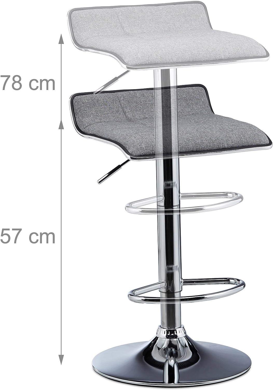 Relaxdays Bar Stool Set of 2, Height-Adjustable, Swivel, 120 kg, Metal Bistro Chair, HxWxD: 86 x 39 x 39 cm, Black Grey