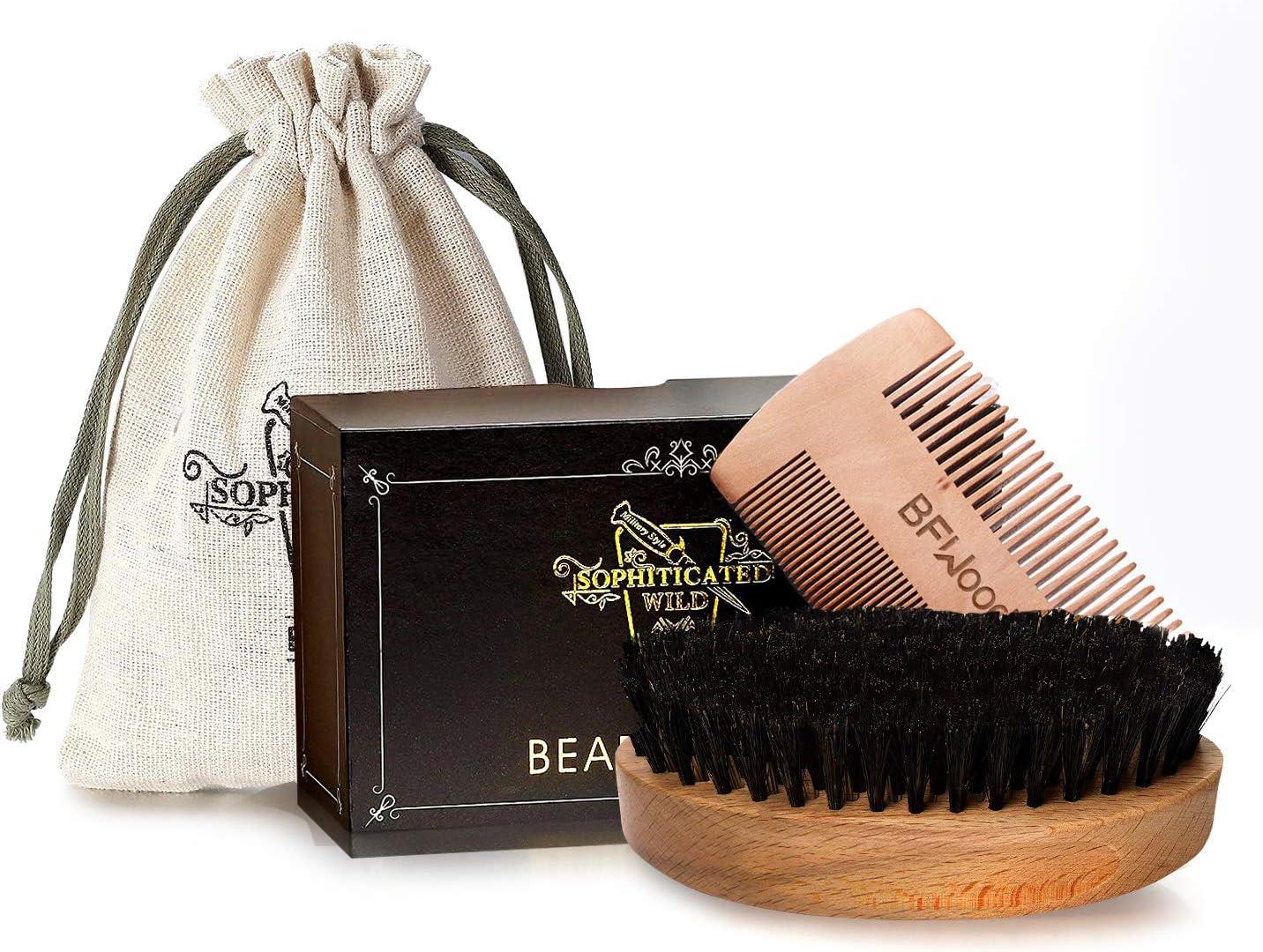 BFWood Set di Spazzola Barba con setole di cinghiale e Pettine - Stile militare