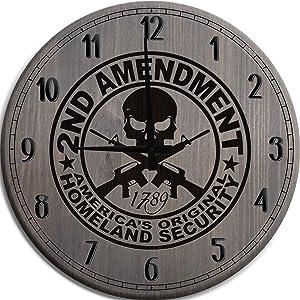 Large Wall Clock 12 Inch 2nd Amendment America's Original Homeland Security Man Cave Wall Decor Barnwood Gray Wall Decor