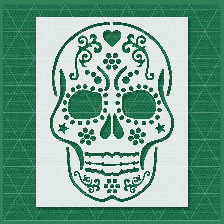 14x11-11x8.5 Available Sugar Skull Stencil 7x5.5 Reusable /& Durable