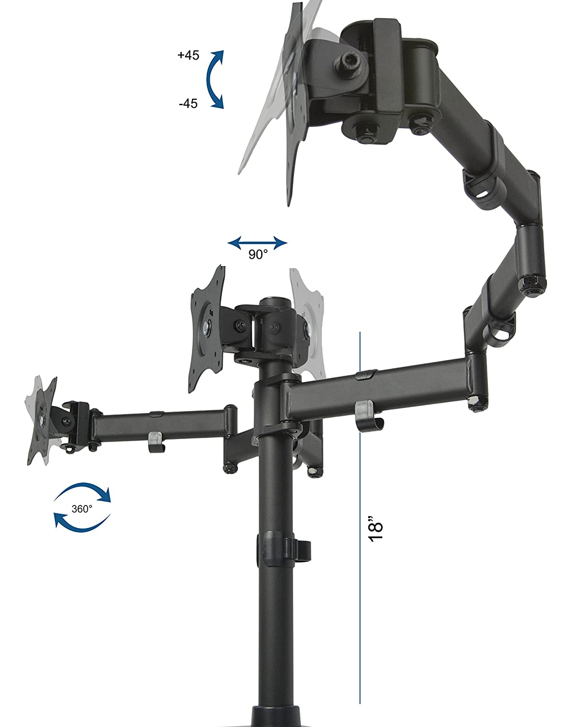 Amazon com vivo triple lcd monitor desk mount stand heavy duty fully - Amazon Com Vivo Triple Monitor Adjustable Mount Articulating Stand For 3 Lcd Screens Upto 24 Stand V003m Computers Accessories
