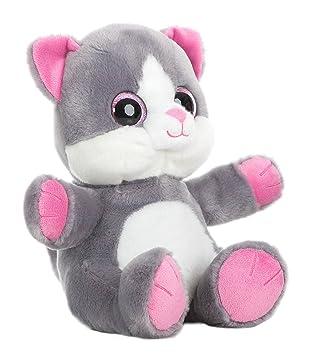 GATO OJOS BRILLANTES - Peluche Gato gris con patas rosas (25cm) - Buena calidad