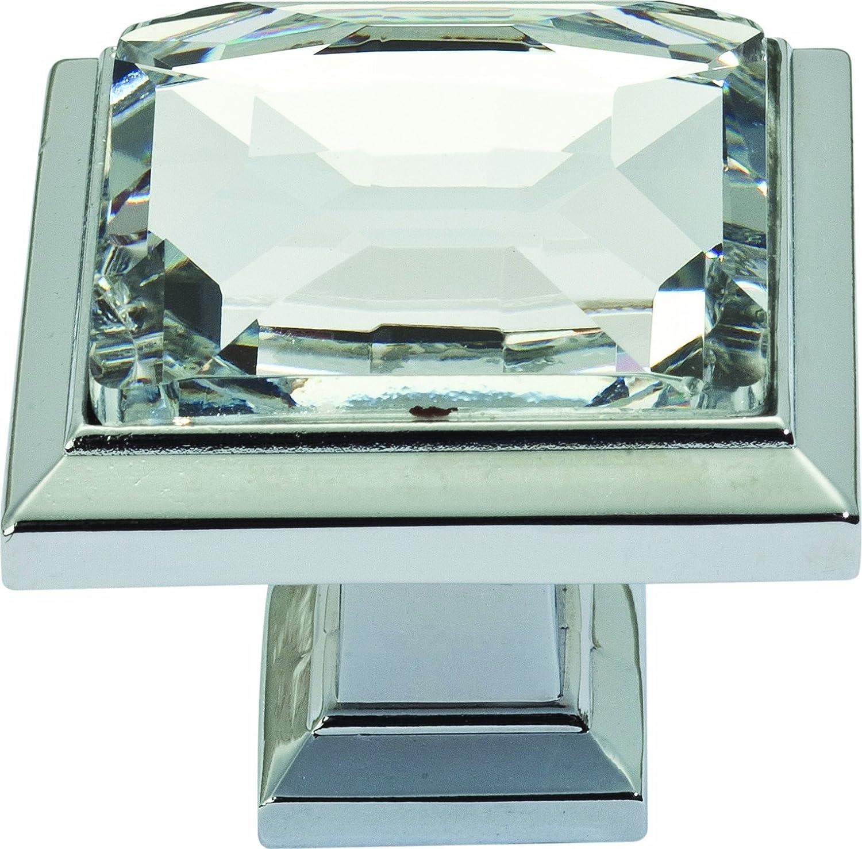 Atlas Homewares 340-CH Legacy Crystal Polished Chrome 1.3-Inch Square Knob