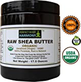 Certified ORGANIC RAW SHEA BUTTER, Huge 17.5 oz Tall Amber BPA Free Jar Unrefined, Virgin, Ivory White (Tan) Premium Quality Made in Africa From The Shea Nut Best Noncomedogenic Natural Moisturizer