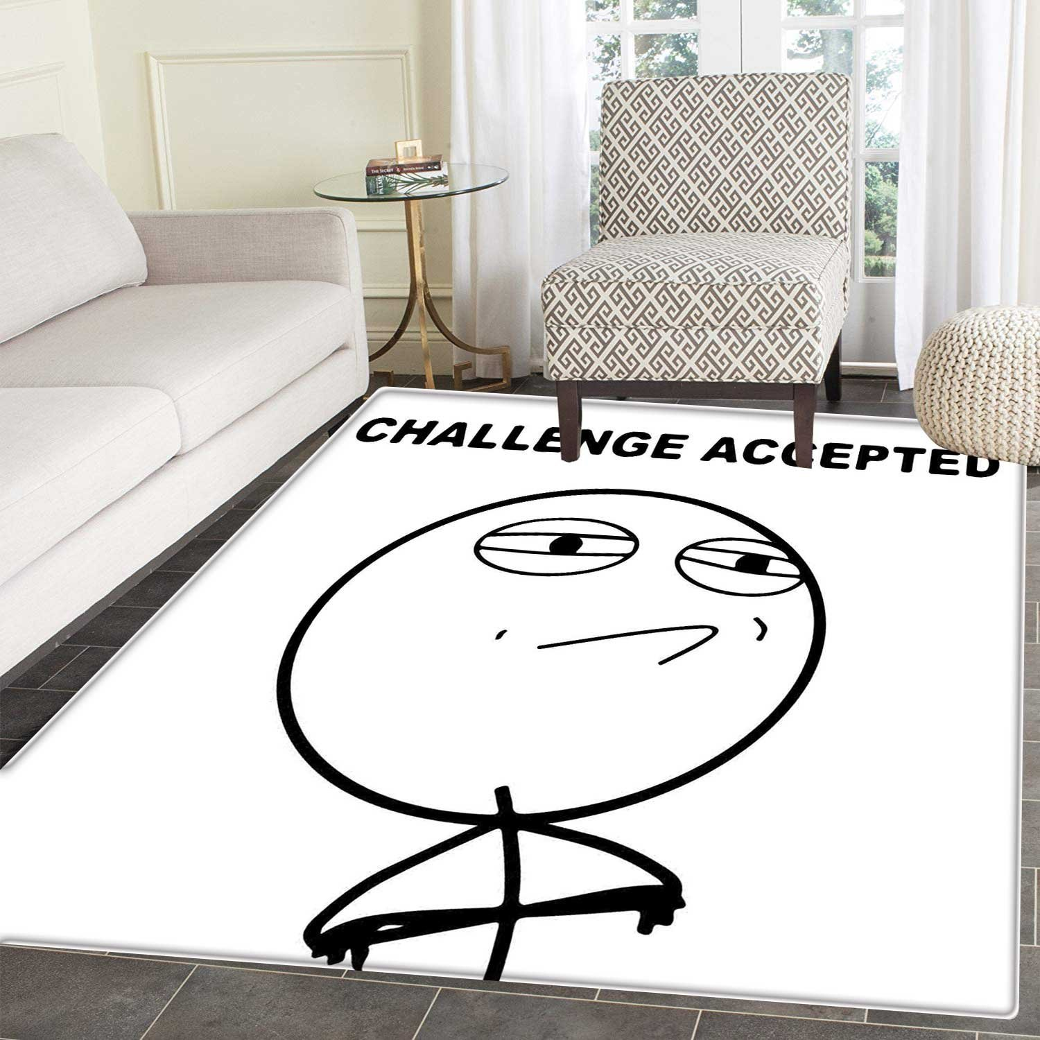 Fantastic Humor Rugs For Bedroom Challenge Accepted Guy Meme Caricature Man Trippy Styled Artsy Modern Picture Circle Rugs For Living Room 4X5 Black And White Bralicious Painted Fabric Chair Ideas Braliciousco