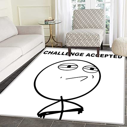 Astounding Humor Rugs For Bedroom Challenge Accepted Guy Meme Caricature Man Trippy Styled Artsy Modern Picture Circle Rugs For Living Room 4X5 Black And White Bralicious Painted Fabric Chair Ideas Braliciousco