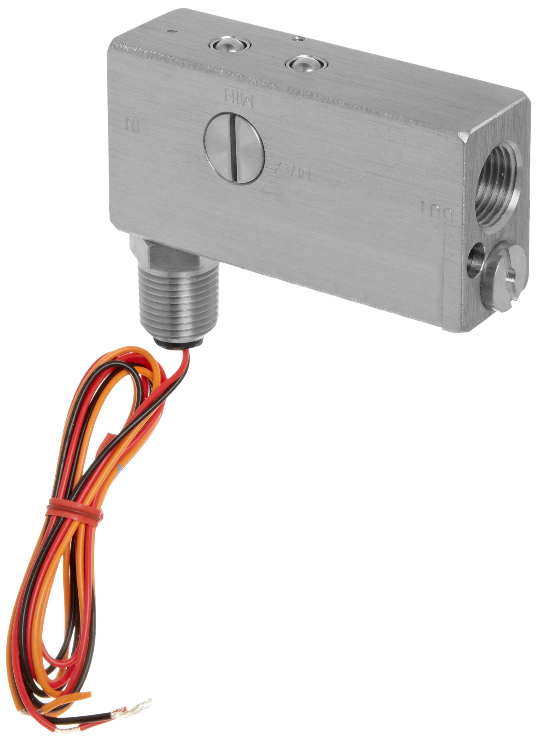 Gems Sensors FS-10798  Series Stainless Steel 316 Flow Switch For Use With Liquids, Inline, Piston Type, With 1/2'' Conduit Connector, 0.50 - 20 gpm Flow Setting Adjustment Range, 1/2'' NPT Female