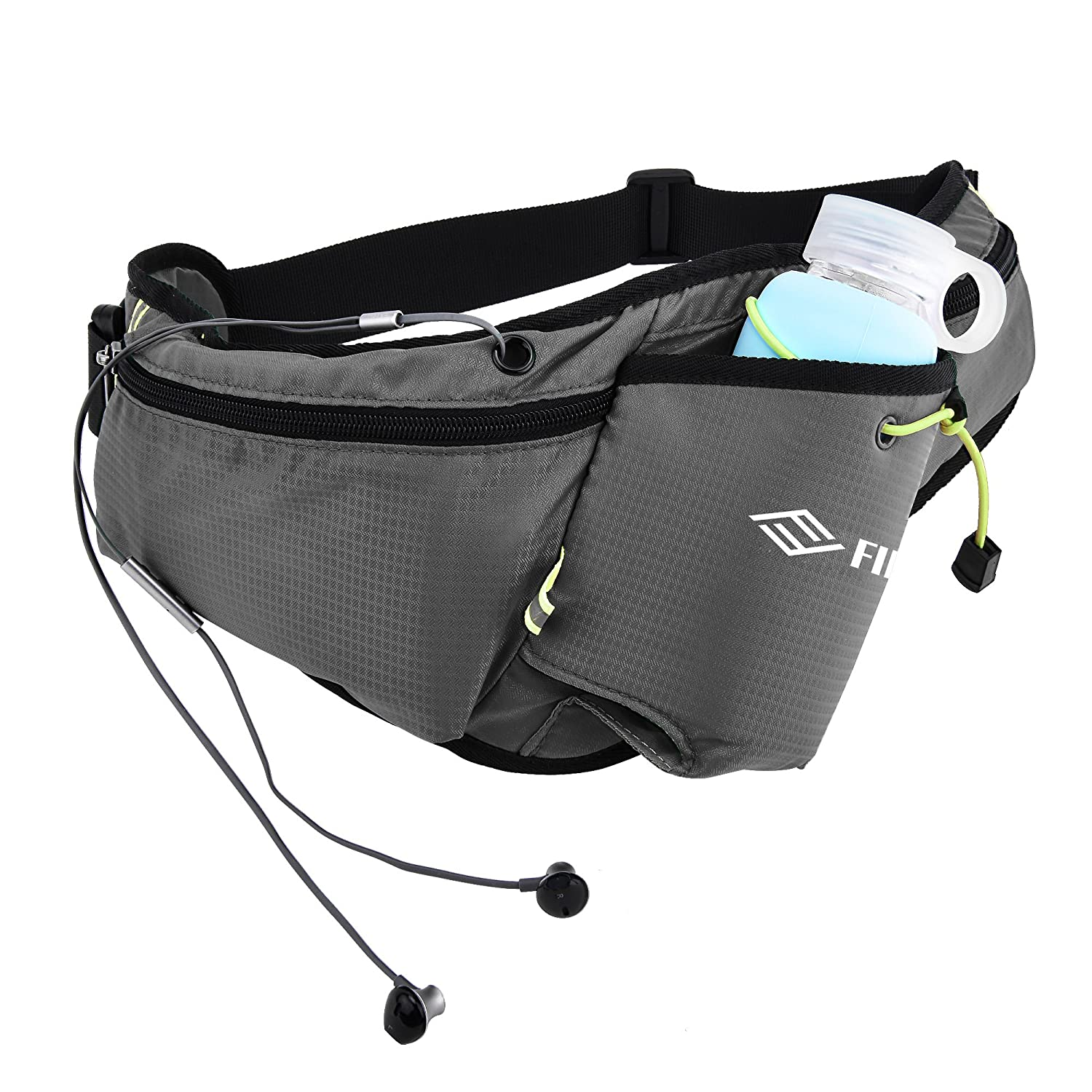 FILWO Waterproof Fanny Pack with Water Bottle Holder, Running Belt for Men Women Waist Pack with Headphone Hole for Running Hiking Travel Camping Climbing Cycling