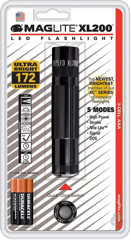 Maglite XL200 LED 3-Cell AAA Flashlight, Black