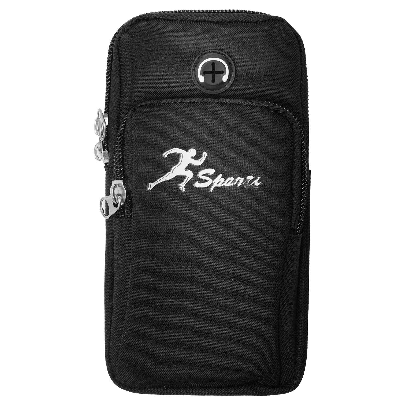 Brazalete deportivo #1 Negro Gimnasio universal para correr Brazo resistente bolsa con orificio para auriculares bolsillos dobles para iPhone Xr//Xs// X 8 Plus Galaxy S9 Plus Note 8 de 3.5-6.2