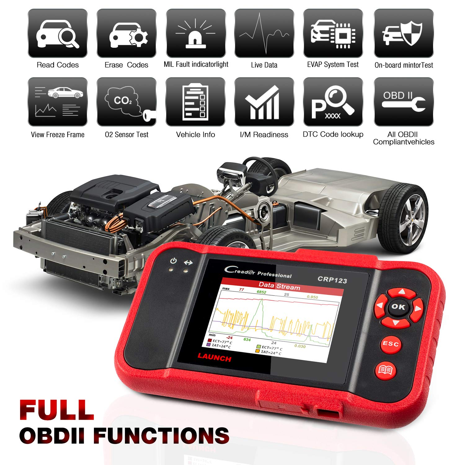 LAUNCH X431 Creader CRP123 Automotive Diagnostic Scan Tool OBD2 Auto Code Reader Support ENG/TCM/ABS/SRS System Code Reader with EL-50448 TPMS Activation Relearn Tool by LAUNCH (Image #3)