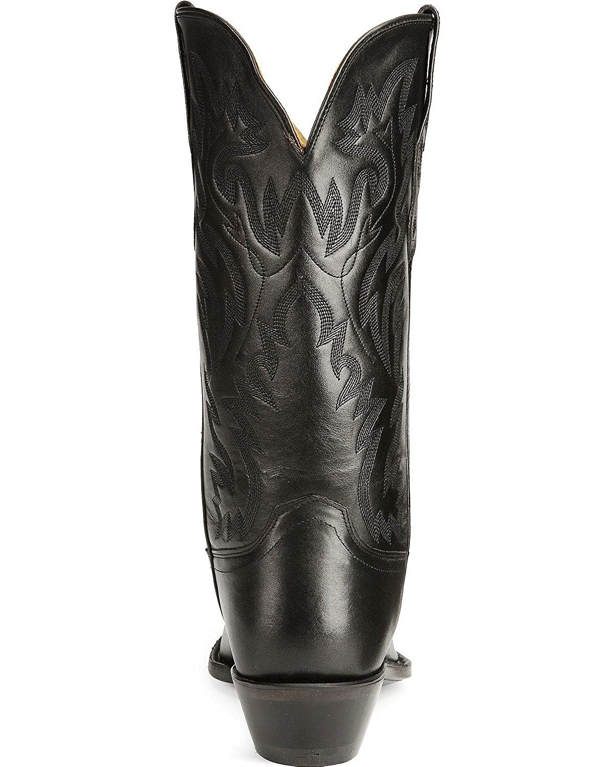 Old West Black Mens All Leather 12in Snip Toe Stitch Cowboy Western Boots