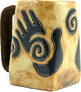 One (1) MARA STONEWARE COLLECTION - 12 Ounce Coffee Cup Collectible Square Bottom Mug - Healing Hands Design