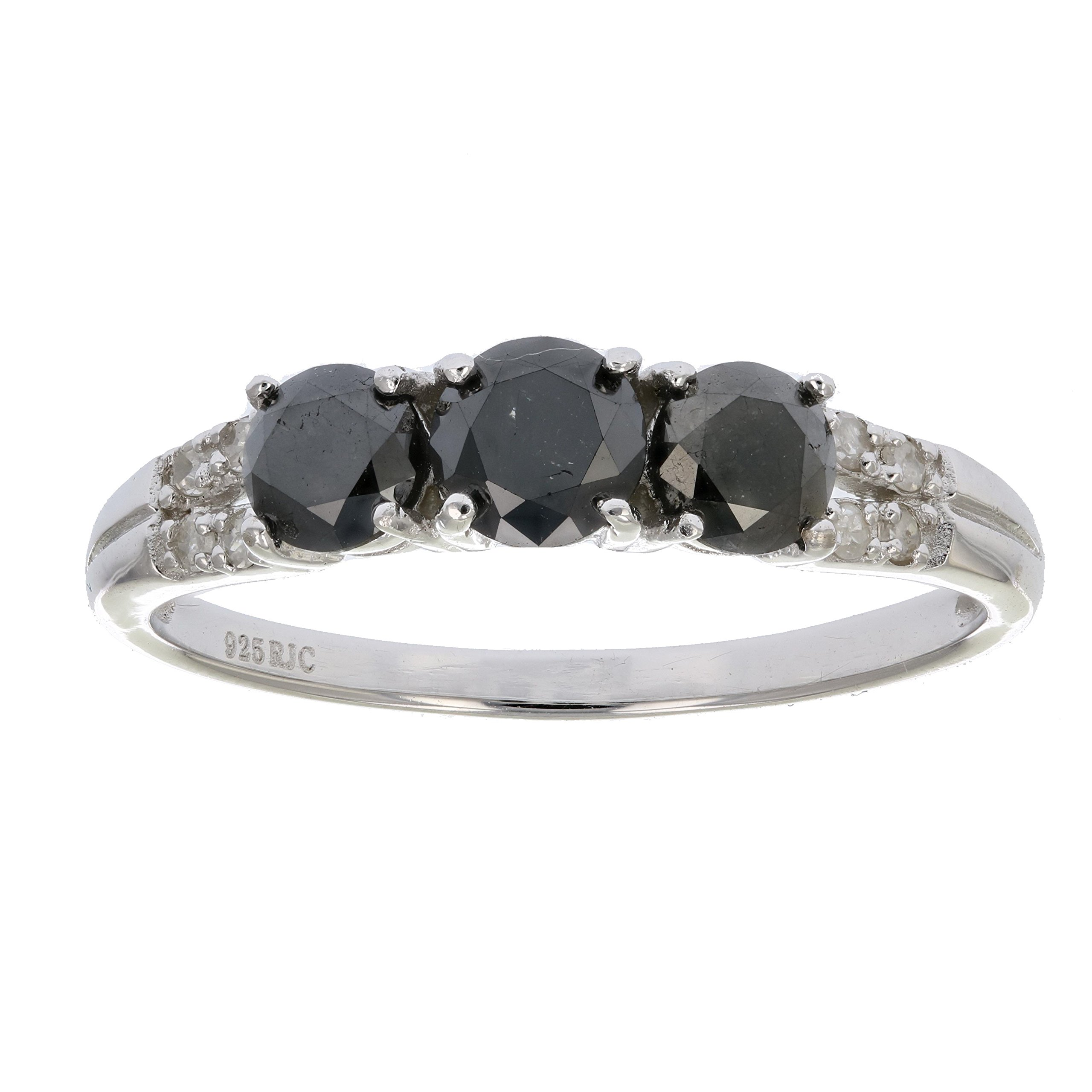 1 CT 3 Stone Black Diamond Ring Sterling Silver In Size 8