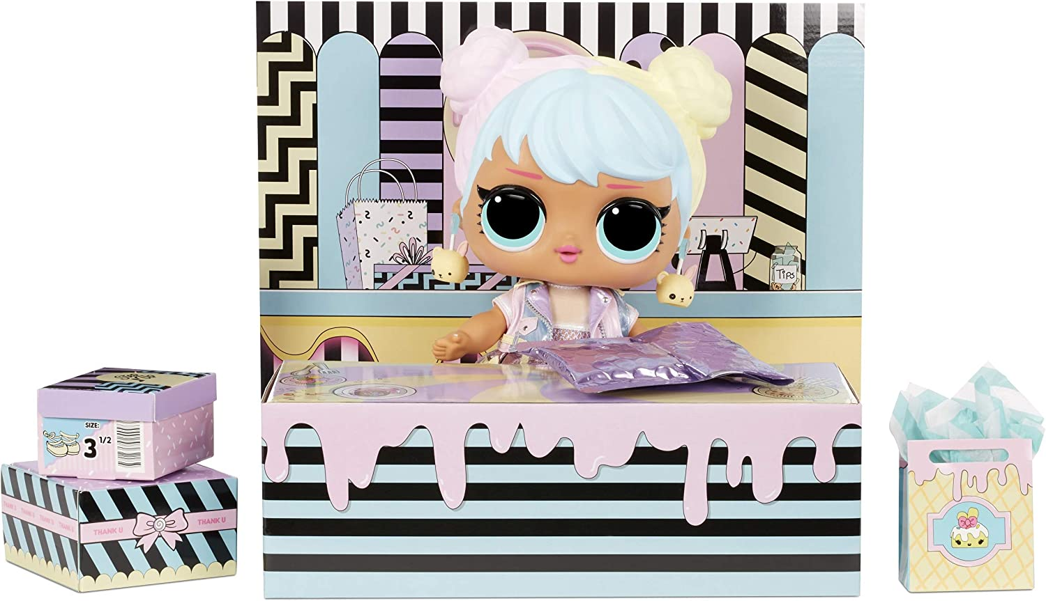 Accessories Big Baby Chair and Backdrop LOL Surprise Big B.B. Shoes Bon Bon Includes Playset Desk 11 Large Doll UNbox Fashions