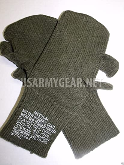 New US Army Military Wool Hunting Shooting Trigger Finger Mitten Insert  Liners Cool Sniper Gloves USGI 2a999030dbd