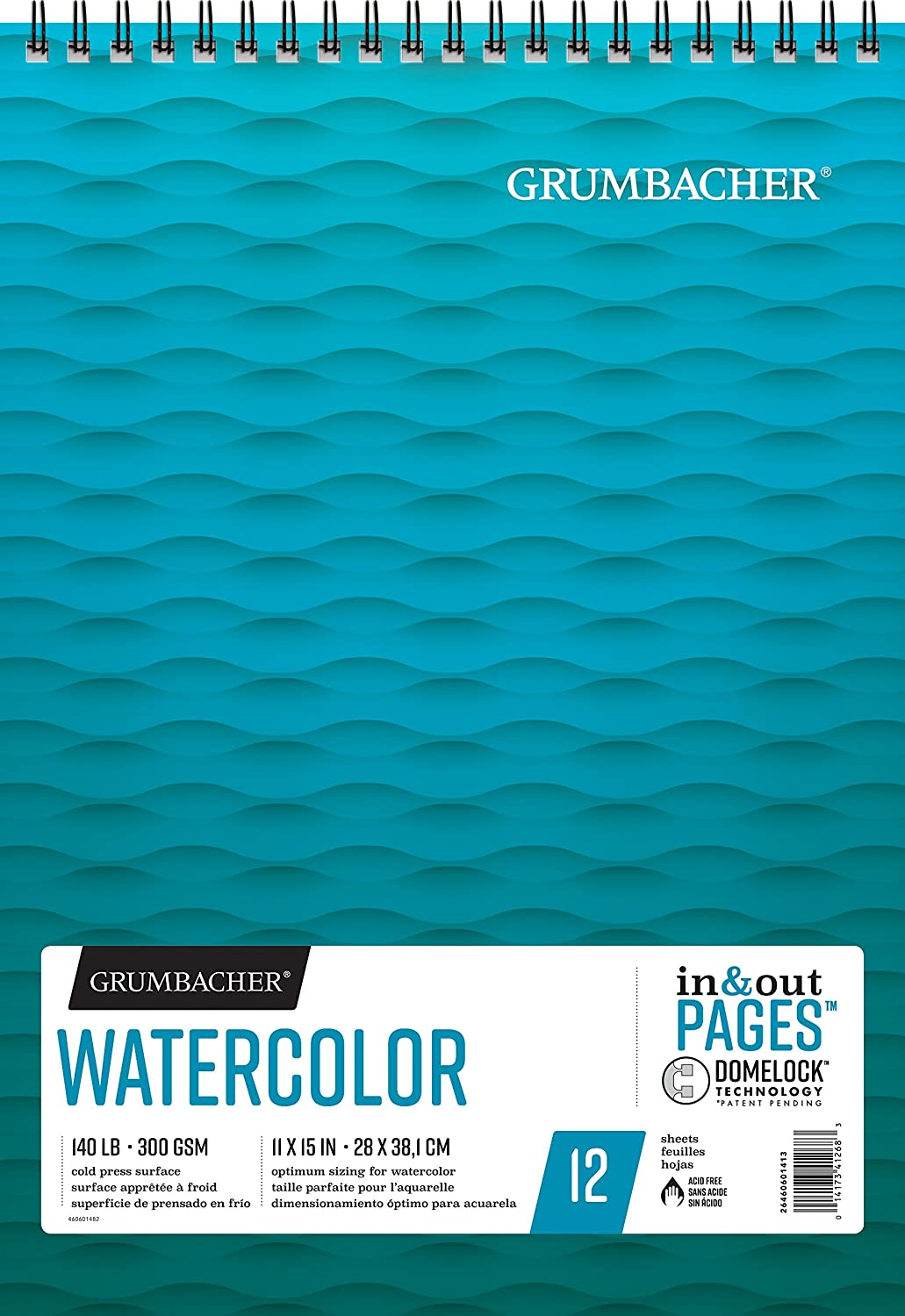 Grumbacher Watercolor Paper Pad, 140 lb. / 300 GSM, 8 x 8 inches, Fold Over Construction, 15 White Cold-Press Sheets/Pad, 1 Each, 26460600711 Chartpak Inc.