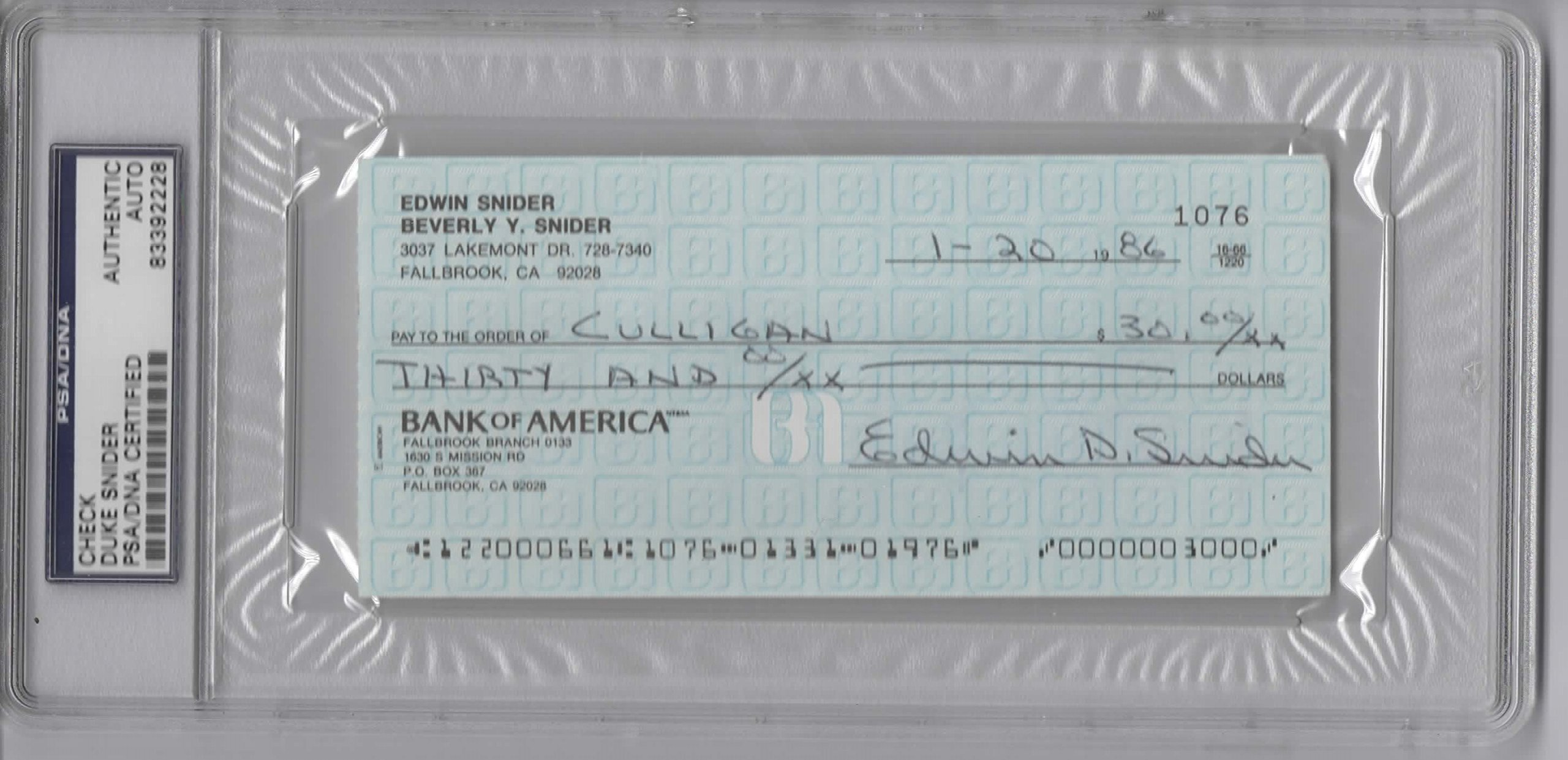 DUKE SNIDER SIGNED PERSONAL CHECK #1076 SLABBED PSA/DNA