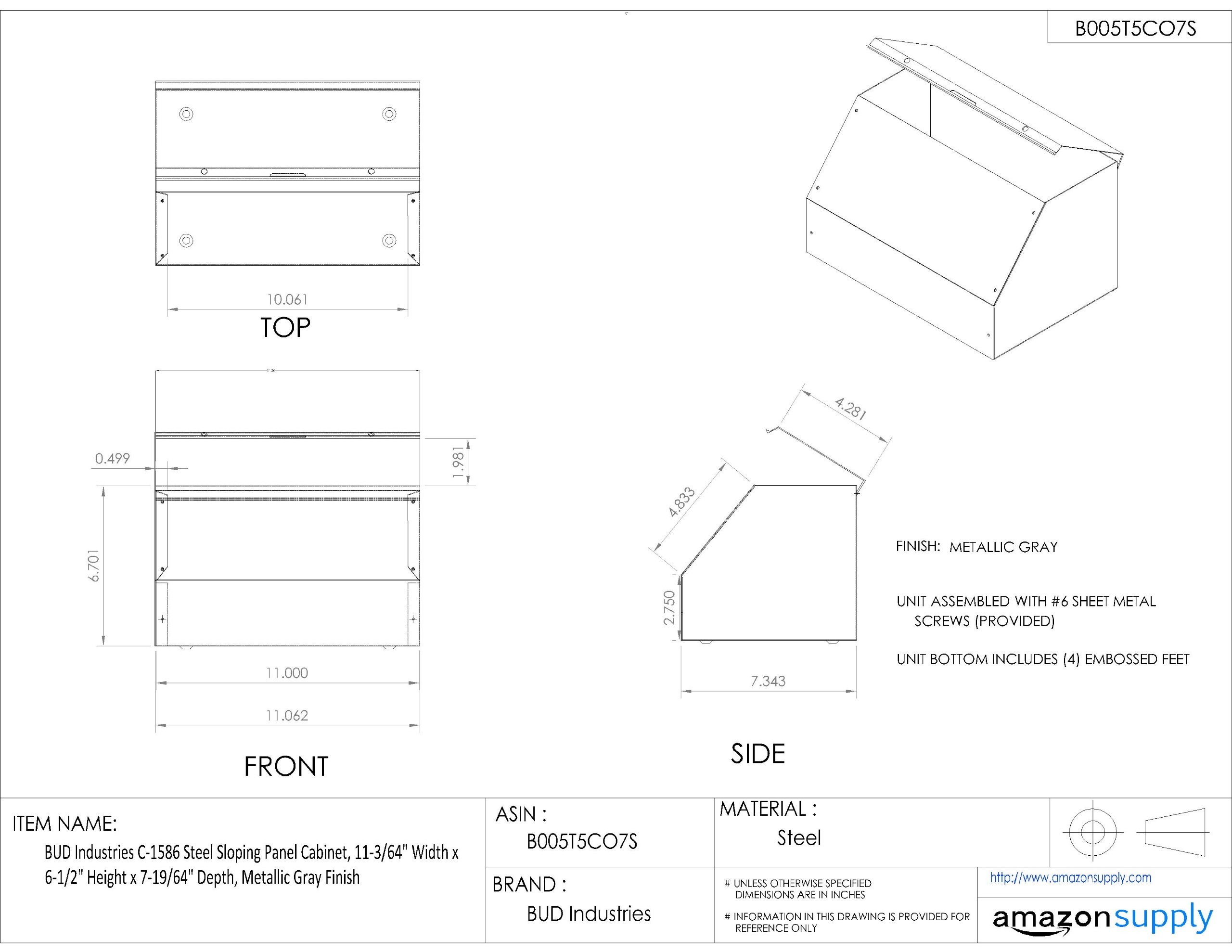BUD Industries C-1586 Steel Sloping Panel Cabinet, 11-3/64'' Width x 6-1/2'' Height x 7-19/64'' Depth, Metallic Gray Finish