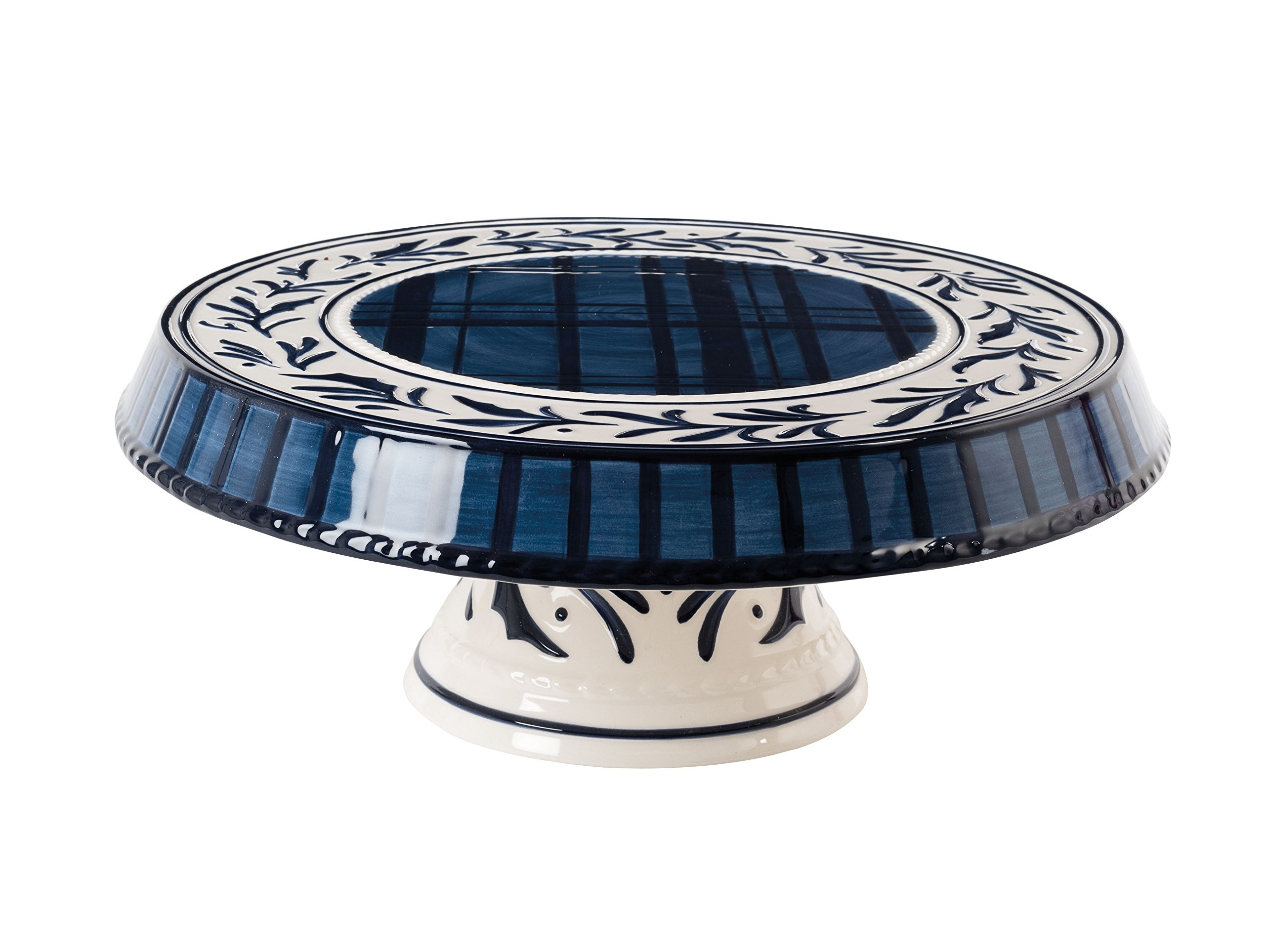 Bristol Collection, Chip and Dip/Cake Plate, Royal Blue/White