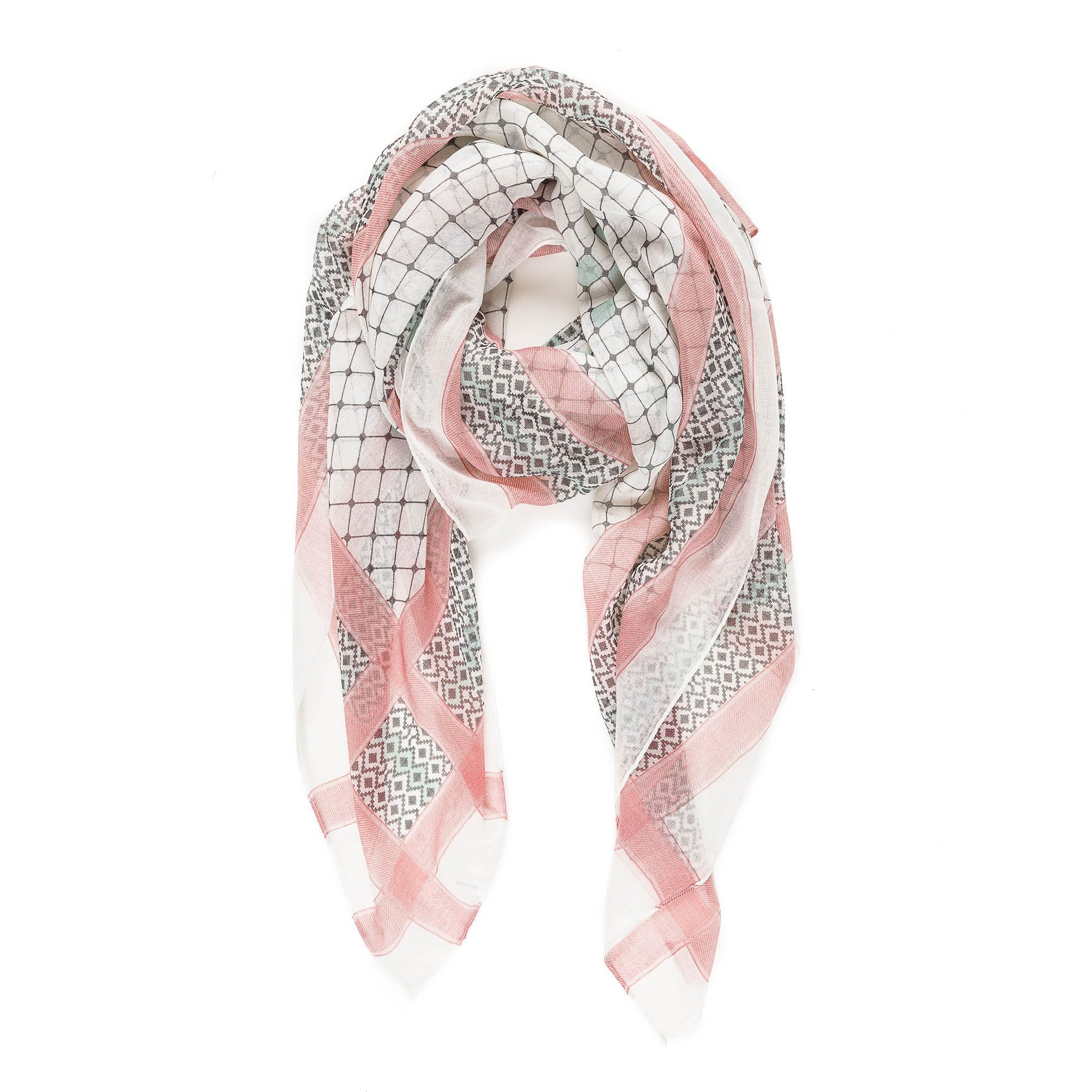 Scarf for Women Lightweight Fashion Fall Winter White Pink Geometric Scarves Shawl Wraps by Melifluos (F010-15)