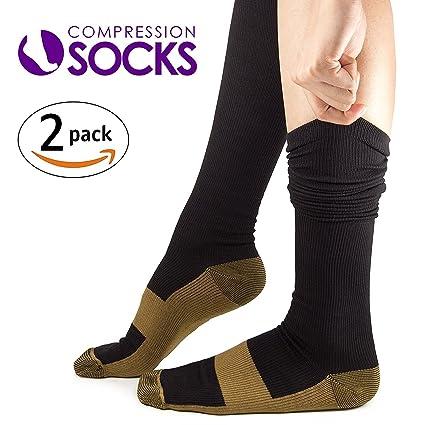 Kroo Copper Recovery Performance calcetines médicos de compresión hasta la rodilla Medias para hombres, mujeres