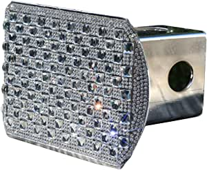 Fits 2 Receivers, Clear Diamond Crystal Bling Rhinestone Trailer Hitch Cover tube insert Fits 2 Receivers