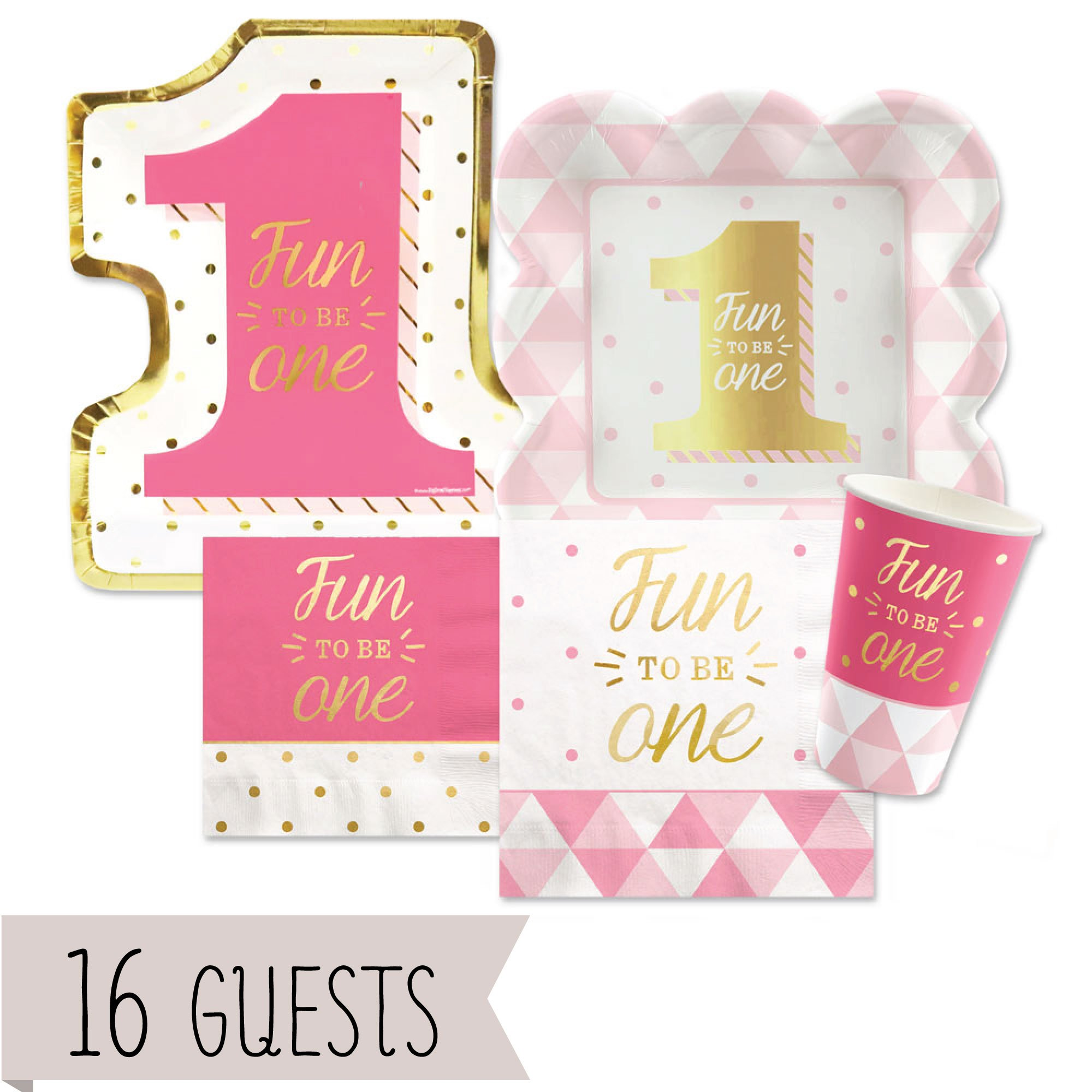 Big Dot of Happiness Fun to be One - 1st Birthday Girl with Gold Foil - Party Tableware Plates, Cups, Napkins - Bundle for 16